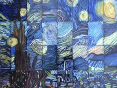 "5th Grade/Middle School Masterpiece Mosaic of ""Starry Night"" by Vincent Van Gogh ... Famous painting divided into equal sized pieces and given to students of class - LOVE this idea."