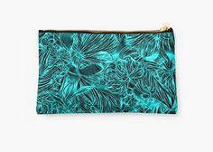 Abstract azure green flowers, emerald floral pattern pouch •  Also Available as T-Shirts & #Hoodies, Men's #Apparels, Women's Apparels, #Stickers, #iPhone #Cases, #Samsung #Galaxy Cases, #Posters, #Home Decors, #Tote #Bags, #Pouches, #Art #Prints, #Cards, Mini #Skirts, #Scarves, #iPad Cases, #Laptop #Skins, Drawstring Bags, Laptop #Sleeves, #tapestries and #Stationeries