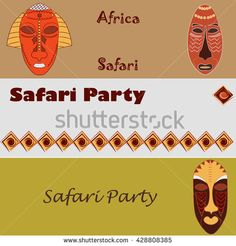 Vector hand drawn horizontal banner template set. Colorful African masks and  border ethnic ornaments. Safari background. For announcement, advertisement or flayer, website header. Place for text. - stock vector