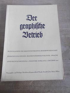 Cover Der graphische Betrieb, 9. Jahrgang, Heft 10, Oktober 1934