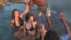 Girls defy death at Victoria Falls! Devil's Pool, Livingstone Island, Zambia Bora Bora, Largest Waterfall, Victoria Falls, Before I Die, West Indies, Bikini Babes, Cairo, Wonders Of The World, Places To See