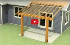 Watch videos on how to attach a patio roof to an existing house, attach roof ove. - Watch videos on how to attach a patio roof to an existing house, attach roof over deck from house, o - Patio Diy, Backyard Patio Designs, Wooden Pergola, Outdoor Pergola, Backyard Pergola, Pergola Designs, Deck Design, Porch Roof Design, Porch Designs