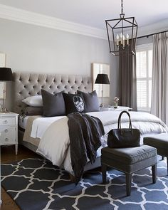 Black, white and every shade in between! Very cool bedroom by Sneller Custom. #bedroomdesign