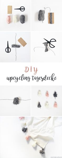 (Upcycling) DIY bedspread with tassels - feather cloud- (Upcycling) DIY Tagesdec. Baby supplies Baby Bikes (Upcycling) DIY bedspread with tassels - feather cloud- (Upcycling) DIY Tagesdecke mit Tasseln – Federwolke (Upcycling) DI Upcycled Home Decor, Upcycled Crafts, Diy Home Crafts, Diy Mask, Diy Face Mask, Diy Tassel, Tassels, Glands, Diy Accessoires