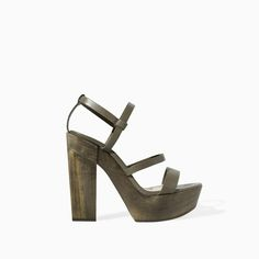 Image 1 of LEATHER PLATFORM SANDAL from Zara   These look so uncomfortable but pretty.