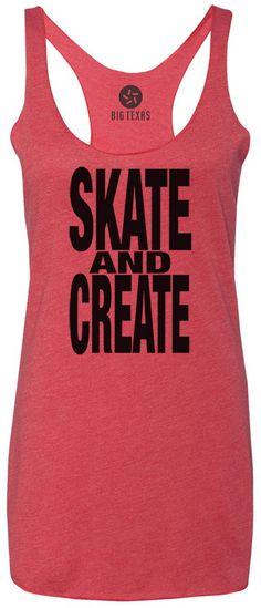 Skate and Create (Black) Tri-Blend Racerback Tank-Top