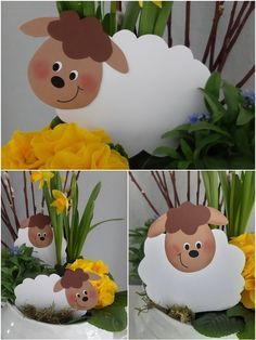 Spring lambs for the flower bowl - Wonderful springtime … … find these lambs too and make themselves comfortable between the flowe - Craft Work For Kids, Diy For Kids, Crafts For Kids, Easter Art, Easter Crafts, Spring Lambs, Disney Cars Party, Flower Bowl, Kids And Parenting
