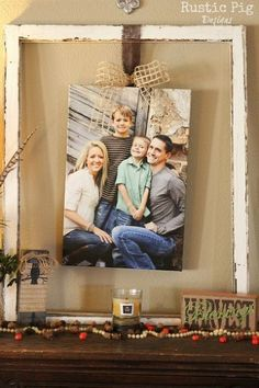 decorating for fall, seasonal holiday d cor, wreaths, Old window frames make the perfect place to hang our family canvas photo