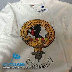 We have one of these in stock that we are selling off at a discounted price.  It's a white t-shirt with the MacBean crest on.  It is in size Large.