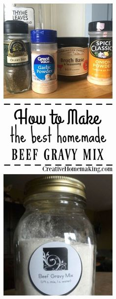 How to Make Beef Gravy Mix. Recipe for easy inexpensive beef gravy mix from scratch. This homemade beef gravy mix is easy to make and easy on the budget. Homemade Beef Gravy, Homemade Dry Mixes, Homemade Spices, Homemade Seasonings, Homemade Brown Gravy Mix Recipe, Homemade Recipe, Dry Beef Gravy Mix Recipe, Gravy Powder Recipe, Brown Gravy Recipe From Scratch