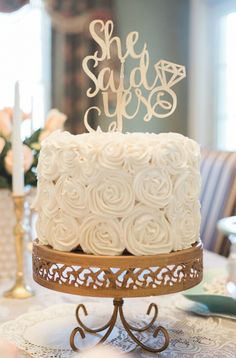 She Said Yes cake! A Gold and Blush Bridal Shower | Ultimate Bridesmaid | Anne Molnar Photography