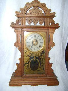Welch Walnut Eclipse Gingerbread Parlor Clock #antiquewallclock