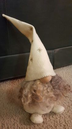 Gnome, white with sage stitches  #tomte #gnome #nisse