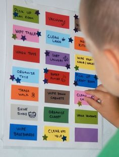 "Chore chart. Simple and effective method for multiple kids. Each kid gets their own color star to put on the paint chip coded ""chore."" Number of stars counted up and rewarded appropriates at the end of each week."