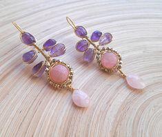 Juliette twig leaf branch gemstone dangle drop earrings pink