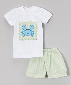 This Smocked or Not White Crab Tee & Green Seersucker Shorts - Infant & Toddler by Smocked or Not is perfect! #zulilyfinds