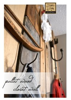 Who needs a closet when you have a PALLET WOOD CLOSET WALL? Way fun! By Funky Junk Interiors