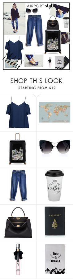"""Sans titre #235"" by ouissal-lahouarii ❤ liked on Polyvore featuring Haute Hippie, Ted Baker, Lee, Fendi and Mark Cross"