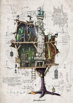 BABA YAGA – Baba Yaga's Chicken Leg Hut poster. Art And Illustration, Fantasy Kunst, Fantasy Art, Environment Design, Drawing Sketches, Drawing Ideas, Fun Sketches, Drawing Projects, Art Design