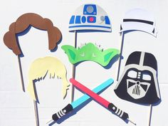 Star Wars Inspired Photo Booth Props; Yoda, Storm Trooper, Darth Vader Photobooth Props; Boy Birthday Party Idea; Light Saber Prop by LetsGetDecorative on Etsy https://www.etsy.com/listing/222193384/star-wars-inspired-photo-booth-props