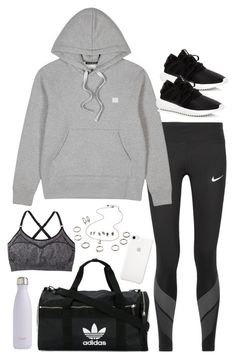"""Sem título #5369"" by fashionnfacts ❤ liked on Polyvore featuring NIKE, Acne Studios, C9 by Champion, adidas and S'well"
