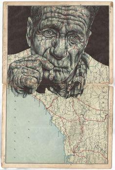 Maps – Mark Powell - A Level Art Sketchbook - Biro Art, Biro Drawing, A Level Art Sketchbook, Art Alevel, Pen Illustration, Drawn Art, Ap Studio Art, Polychromos, Banksy