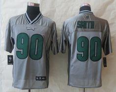 Cheap Wholesale 2014 Regular Season Mens Philadelphia Eagles #90 Marcus Smith Nike Grey Vapor Elite Jersey Size 40-56 Instock,Factory Price,Free Shipping,Contact US