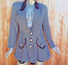 1eecc257ab6c83 Medium Checkered Womens Jacket Peplum Button Down Long Sleeve V-Neck Vintage  80s  HannaCasual