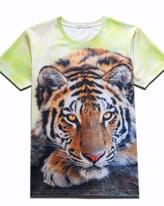 776012aa0f53 Tie dye 3d tiger t shirt big animal face for teens short sleeve Aggressive  Animals,