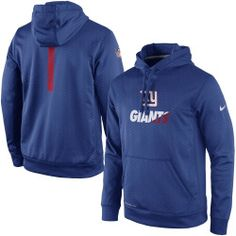 Mens New York Giants Nike Royal Sideline Fleece Therma-FIT Pullover Hoodie