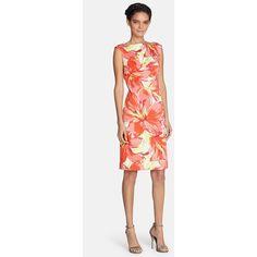 Petite Tahari Floral Print Cotton Sheath Dress (£50) ❤ liked on Polyvore featuring dresses, petite, poppy red, floral print dress, floral print sheath dress, sheath dress, petite sheath dress and cotton floral dress