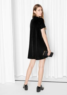 other stories image 2 of wrinkly velvet dress in black do it other stories image 3 of a line velvet dress in black solutioingenieria Images