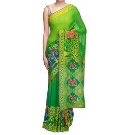Yellow & Green Hand Woven Zari Georgette Saree