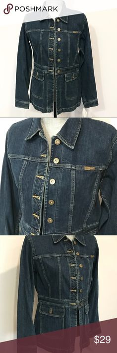 """🆕 NWT Liz Claiborne denim jean jacket New with tags Liz Claiborne denim jean jacket- size Medium in perfect condition. The adjustable back makes this design sleek and smaller around the waist. Classic and trendy!  Comes from a very clean and smoke free home. No stains tears or damages.   Length: 26"""" Width 18""""   Make me an offer and shop bulk to save! Liz Claiborne Jackets & Coats Jean Jackets"""