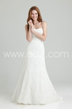 Fabulous A line Strapless Sweep/Brush Train Lace and Satin Wedding Dress with Empire Waist