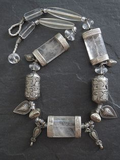 Old Himalayan Crystal and Silver Necklace by GEMILAJewels on Etsy