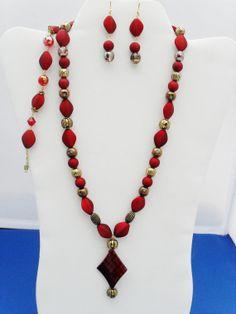 3 piece OOAK matte red Swarovski vitrail astral by ElmsRealm, $30.00