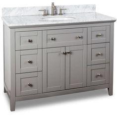 Jeffrey Alexander VAN102 48 T 48 Inch Single Free Standing Vanity Set With  Hardwood Cabinet, Marble Top, And Oval Undermount, Grey