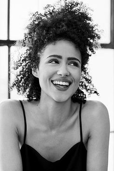 """""""I think my hair is the first thing people recognize me for,"""" she says of her goddess-like afro, """"and I'm happy about that, because I think we've all gotten so used to women straightening and changing their natural hair. Beautiful Celebrities, Beautiful Actresses, Curly Hair Styles, Natural Hair Styles, Nathalie Emmanuel, Pelo Natural, Afro Hairstyles, Black Hairstyles, Grunge Hair"""