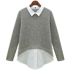 Yoins Plus Size Dual-tone Knit Blouse (30 CAD) ❤ liked on Polyvore featuring tops, blouses, grey, womens plus tops, grey top, plus size tops, gray top and women plus size tops