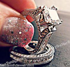 .925 Sterling Silver Princess cut Simulated Diamond Engagement Ring Wedding Set