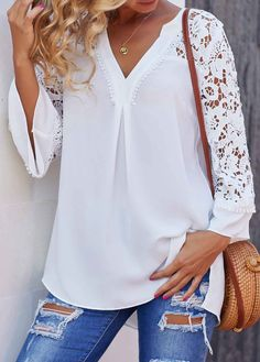 Fashion Women Blouse Celmia Summer V neck Lace Shirt Sleeve Sexy Hollow Out Tunic Top Casual Loose Office Blusas Plus Size 7 Trendy Tops For Women, Stylish Clothes For Women, Blouses For Women, Neutral Blouses, Lace Tops, White Long Sleeve, Casual Tops, Pretty Outfits, Shirt Blouses