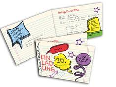 Einladungskarten Maturafeier 20 Jahre Journal, 20 Years, Invitation Cards, Celebration, Invitations, Gifts, Journal Entries, Journals
