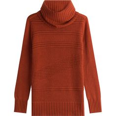 Diane von Furstenberg Wool-Cashmere Patterned Rib Turtleneck Pullover ($295) ❤ liked on Polyvore featuring tops, sweaters, orange, red turtleneck, cashmere sweater, turtleneck sweater, cashmere turtleneck sweaters and pullover sweaters