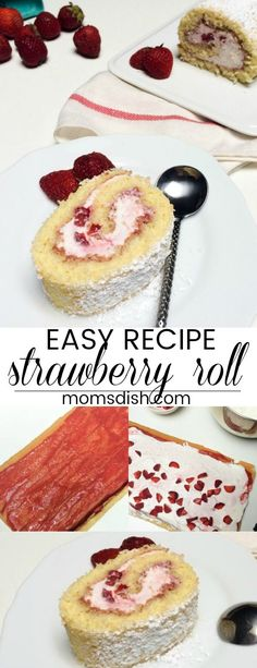 Delicious and easy strawberry roll dessert. A sweet cake roll with a strawberry cream and fresh strawberries. Strawberry Roll Cake, Strawberry Recipes, Cake Roll Recipes, Bread Recipes, Baking Recipes, Desserts Menu, Dessert Recipes, Roulade Recipe, Raspberry Desserts