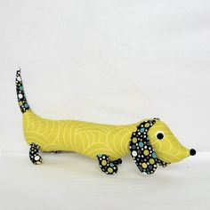 colorful wiener dog by blackbirdfashion on etsy