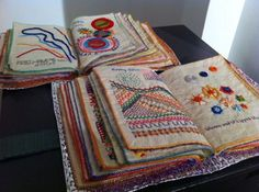 Livro bordado fabric book journal page layout idea Embroidery Sampler, Embroidery Art, Embroidery Applique, Cross Stitch Embroidery, Embroidery Patterns, Machine Embroidery, Creative Embroidery, Quilt Modernen, Fabric Journals