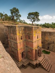The rock-hewn church of Bet Giyorgis in Lalibela, Ethiopia (by Keith). I have a postcard of this from when I was in Addis Abbaba...I WANT to see this....