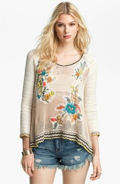 Free People Menagerie Embroidered Crochet Sweater | Nordstrom