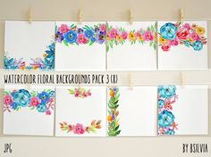 Watercolor Floral Backgrounds with Text Space by FiveCatsGraphics